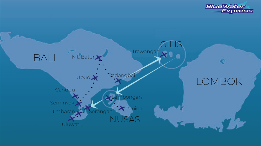 Map of the utlimate Bali itinerary, including Seminyak, Ubud, Batur, Canggu, Bukit, Jimbaran, Uluwatu, Gili Trawangan, Gili Air, Gili Meno, Nusa Lembongan, Nusa Ceningan, Nusa Penida