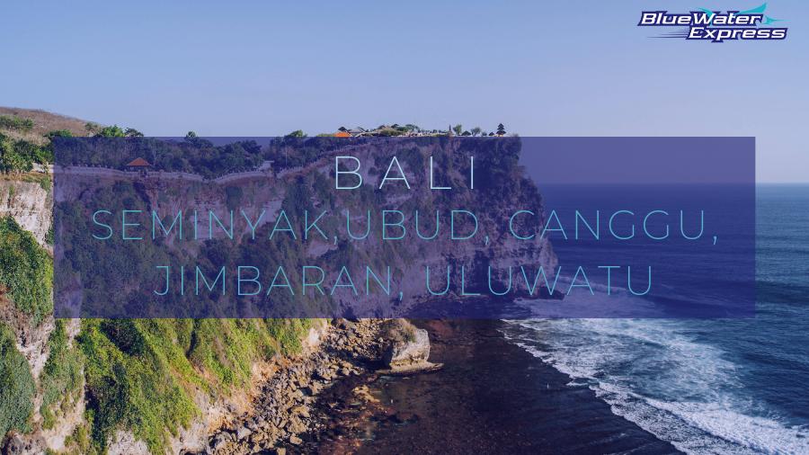 """Picture of Uluwatu Temple in Bali, on a cliff with the ocean and a black sand beach. Writing """"Bali, Seminyak, Ubud, Canggu, Jimbaran, Uluwatu"""""""