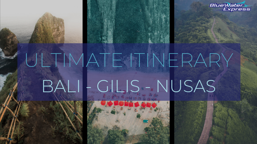 "Photo montage with a picture of Kelingking beach, Nusa Penida, a picture of a beach on Gili Islands, a picture of Campuhan Ridgewalk near Ubud, Bali. Writing ""Ultimate itinerary Bali - Gilis - Nusas"""