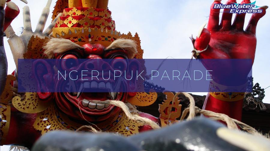 Ogoh ogoh, evil spirit during Ngerupuk Parade. Balinese Hindu New year festival, Nyepi day of Silence.